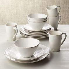 Marin White Dinnerware Set - Crate and Barrel Black Dinnerware, Casual Dinnerware, Stoneware Dinnerware, Dinnerware Sets, Cream Dinnerware, Crate And Barrel, Grey Dinner Plates, Bowls, White Jewelry Box