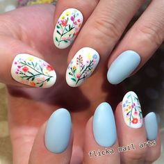 Here are some hot nail art designs that you will definitely love and you can make your own. You'll be in love with your nails on a daily basis. Spring Nail Art, Spring Nails, Summer Nails, Nail Art Designs, Flower Nail Designs, Nails With Flower Design, Cute Nails, Pretty Nails, Floral Nail Art