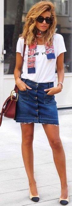 #fall #trending #outfits | White Top + Denim Skirt