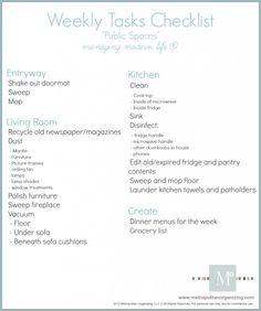 Weekly Chore List | Printable | Geralin Thomas