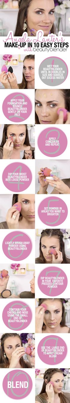 Full face makeup tutorial using a beautyblender in 10 steps. Full face makeup tutorial using a beautyblender in 10 steps. Diy Beauty Blender Sponge, Beauty Blender How To Use, Contour Makeup, Skin Makeup, Contour Face, Eyebrow Makeup, Beauty Make-up, Beauty Hacks, Face Beauty