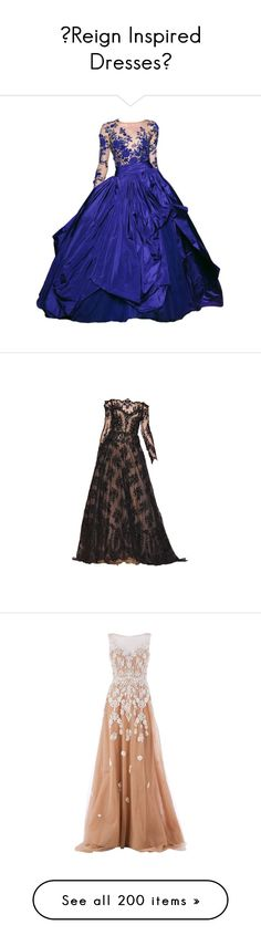 """""""♛Reign Inspired Dresses♛"""" by fashion10496 ❤ liked on Polyvore featuring Inspired, dresses, medieval, Reign, gowns, long dresses, vestidos, zuhair murad evening gowns, blue gown et couture gowns"""