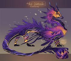 44 Dahlia by Arukanoda on DeviantArt Cute Fantasy Creatures, Mythical Creatures Art, Mythological Creatures, Magical Creatures, Creature Concept Art, Creature Design, Creature Drawings, Animal Drawings, Fantasy Dragon