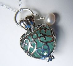 Sea Glass Necklace Heart Locket with by BeachGlassMemories on Etsy, $17.98