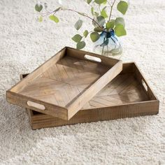 Empire Ottoman, Rustic Serving Trays, Ottoman Tray, Rustic Centerpieces, Table Decorations, Coffee Table Tray, Diy Wood Projects, Wood Crafts, House Projects