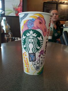 Starbucks Starbucks Starbucks - sharpie art on cups - told my boyfriend I was going to draw a pink unicorn on a cup... gave him a pink dragon instead. everything else on this cup has a special meaning to us.