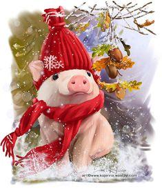 Piglet by Kajenna on DeviantArt Christmas Animals, A Christmas Story, Christmas Pictures, Christmas Art, Christmas Ornaments, Christmas Drawing, Christmas Paintings, Diy Xmas, Pig Art