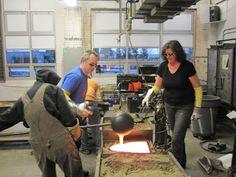 Stephanie Trenchard and Jeremy Popelka sand casting glass in their studio