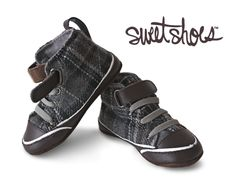 Black & Grey Plaid Hi-Top Shoes 