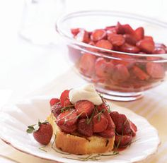 Balsamic-Macerated Strawberries with Basil--This easy, four-ingredient recipe shows off juicy, perfectly ripe strawberries, but it's also a great way to improve those less-than-stellar supermarket strawberries. Via FineCooking