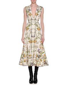 Sleeveless Iris-Print Midi Dress, Violet