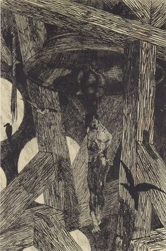 Félicien Rops  Der Gehenkte an der Glocke (1867)