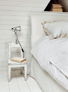 Give a vintage kid's chair a coat of paint, rub it down for a weathered look, get a clip on light from Ikea - perfect bedside table for a small budget!