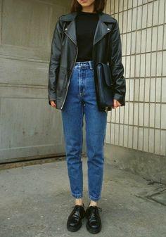 Waved denim: black shoes, blue high waisted jeans, black blouse, black handbag and leather over-sized jacket