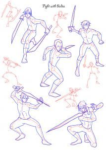 1. In this tutorial you can find example poses for the typical fightings. Now, if you have a knight figure, or something like this you see some fighting pose with blade here.