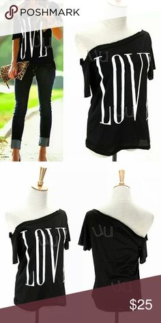 Stylish love cold shoulder black short sleeve top Very chic new in package smoke free home please check with the size chart to find your fit :) sizes small and medium. Tops Tees - Short Sleeve