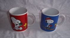 Snoopy & Woodstock Coffee Cups Mugs Set of Two New