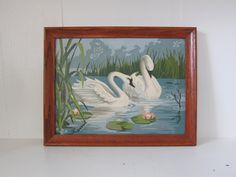Vintage Swans Paint by Number Painting by SmythandMelville on Etsy