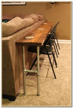 Trendy kitchen bar table behind couch Bar Table, Decor, Table Behind Couch, Bar Table Behind Couch, Sofa Table, Diy Furniture, Furniture, Couch Table, Kitchen Bar Table