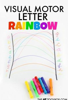 Kids can work on the skills needed for handwriting with this visual motor letter rainbow and bilateral coordination activity. Kids can work on the skills needed for handwriting with this visual motor letter rainbow and bilateral coordination activity. Occupational Therapy Activities, Art Therapy Activities, Therapy Ideas, Improve Your Handwriting, Nice Handwriting, Rainbow Activities, Activities For Kids, Spring Activities, Sensory Activities