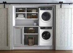 Laundry room cabinets get inspired by our laundry room storage ideas and designs. Allow us to help you create a functional laundry room with plenty of storage and wall cabinets that will keep your laundry. Small Laundry Rooms, Laundry Room Organization, Laundry Room Design, Laundry In Bathroom, Laundry In Kitchen, Basement Laundry, Laundry Room Ideas Garage, Laundry Room Doors, Closet Doors