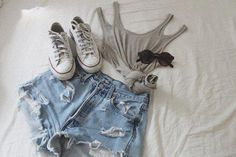 OUTFIT: grey singlet, ripped jean shorts, white chuck taylors