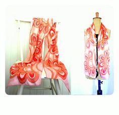 HOT PINK SCARF Retro 60s 70s hippy mod silk hair wrap Long Boho Op Art swirl pattern by LibertyCrush on Etsy