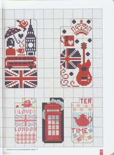 Free London motif iPhone case cross stitch pattern #stitching #unionjack: