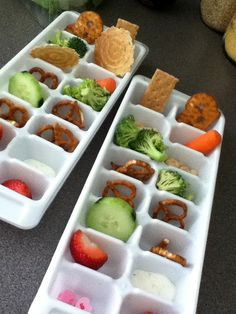 """Snack Lunch"" - it's amazing to witness the healthy foods that your kids will suddenly eat when you serve it to them in an ice cube tray!"