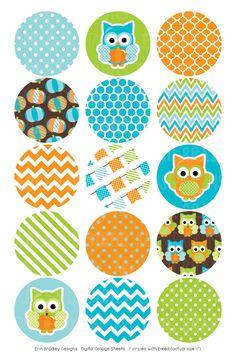 Pumpkin Owl Blue Digital Bottle Cap Images – Erin Bradley/Ink Obsession Designs