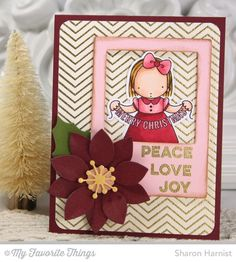 Christmas Banner stamp set and Die-namics, Fine Chevron Background, Merry Messages, Insert It - InstaFrame Die-namics, Poinsettia Die-namics - Sharon Harnist #mftstamps