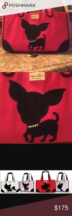 """Jeanne Chinn """"Te Quiero Chihuahua"""" Rescue Me Tote Beautiful Jeanne Chinn Chihuahua Tote. Can be used to carry a small dog or as an everyday tote.  Canvas Shell. 2 changeable linings, 1 micro mink & 1 signature lining both with zipper pocket.s. 4 quality & adorable gold paw purse feet.  Padded dual shoulder straps. Jeweled pet collar on the chihuahua appliqué. Attached key rings & Built in leash clip on both linings. Black canvas piping on edge.  Amazing quality!!  Super cute & stylish…"""