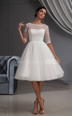 US$118.39–Polka Dots Half Sleeve Short Wedding Dress. www.doriswedding..... Gorgeous off the shoulder wedding dresses, long sleeve wedding dresses, ball gown wedding dresses are waiting to be discovered at www.doriswedding.com with affordable prices. #DorisWedding.com