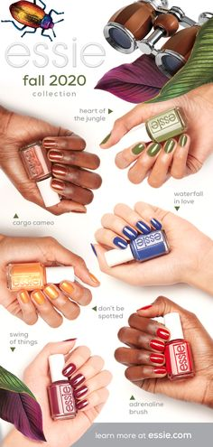 introducing the new limited edition essie fall 2020 collection - six warm, earthy shades inspired by a thrilling trek through the heart of the jungle. Colorful Nail Designs, Nail Art Designs, Nails Design, Cute Nails, Pretty Nails, Essie Nail Polish Colors, Nail Polishes, Gel Polish, Hair Skin Nails