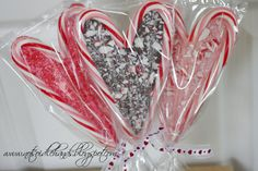 Melt chocolate between two candy canes.