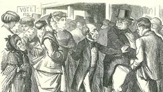 In this cartoon from 1866, John Stuart Mill asks John Bull to make way for women to cast their vote