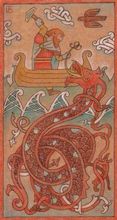 Thor (Þórr) and Jörmungandr