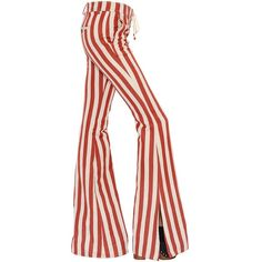 Roberto Cavalli Women Striped Hemp & Cotton Twill Flared Pants (£940) ❤ liked on Polyvore featuring pants, roberto cavalli, cotton twill pants, flare pants, side slit pants and pocket pants