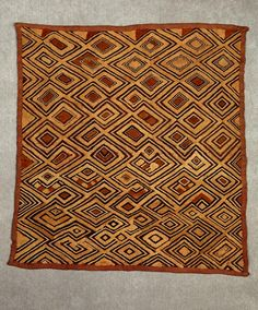Africa | Textile with geometric design, from the Kuba people of the DR Congo | Raffia and natural pigment dyes