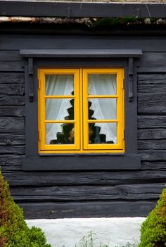 Color for exterior log Cabin Exterior Colors, Log Cabin Exterior, Exterior Paint, Yellow Doors, Cabin Interiors, Cabins And Cottages, Through The Window, Cabins In The Woods, Black House