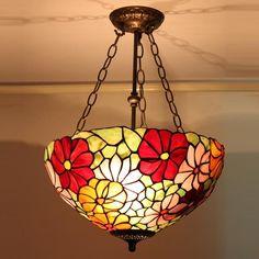 Flower Garden Tiffany Flush Mount Lamp