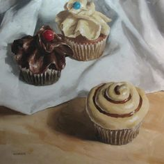 """Oil on Board. Approx 12""""x12"""" Cupcakes. What more should I say? I'm hooked on this subject matter. Love the different frostings and love cap..."""