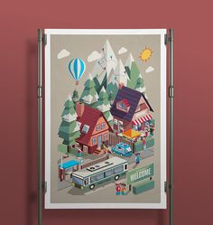 This set of illustrations I made to express how I felt when snowboarding season began.Isometric Snowboarding Resort, Characters & Elements
