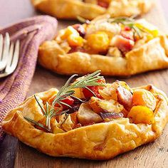 Try these individual savory tarts that combine bacon, goat cheese, and squash for a warm and delicious appetizer.