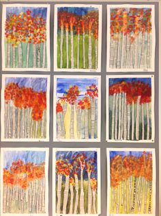 Autumn Trees with newspaper trunks examples Autumn Crafts, Autumn Art, Autumn Trees, Kindergarten Art, Preschool Art, Fall Art Projects, Collaborative Art, Art Classroom, Art Club