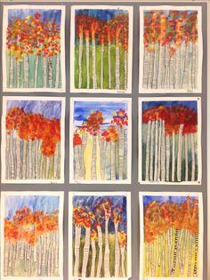 Syksyn puut. Vesiväreillä laveeraus taustaksi, puut leikattiin sanomalehdistä , peiteväreillä lehdet puihin ja lopuksi ohuella tussilla puun runkojen rajaus.