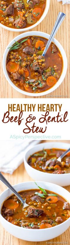 The Best Beef and Lentil Stew Recipe | ASpicyPerspective... #healthy