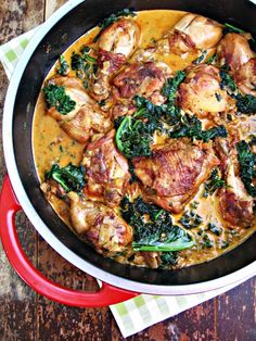 : Braised Chicken and Kale with Paprika & White Wine Just made tonight  Notes: liked breast the best, extra kale, next time make a garlic mashed and get crusty bread. Delish