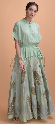 Sage Green Skirt In Cotton Silk With Foil And Zari In Leaf Motifs Online - Kalki Fashion Mandarin Collar, Cotton Silk, Indian Fashion, Hemline, Sage, High Low, Ethnic, Peplum, Belt