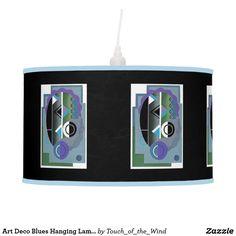 Art Deco Blues Hanging Lamp by Janz